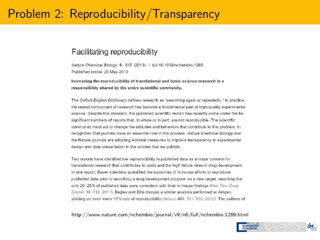 Problem 2: Reproducibility/Transparency http://...