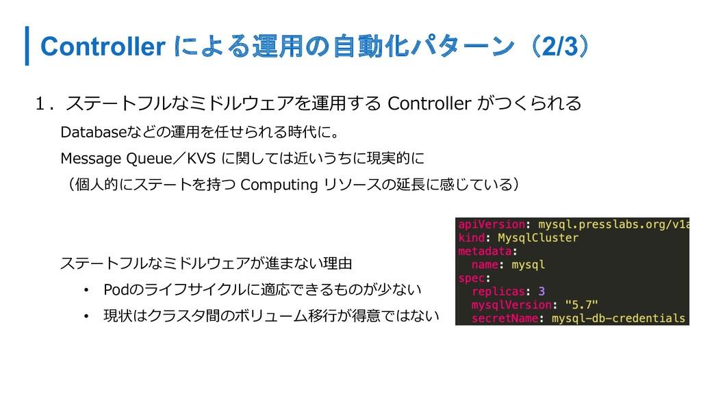 Controller による運用の自動化パターン(2/3) 1.ステートフルなミドルウェアを運...