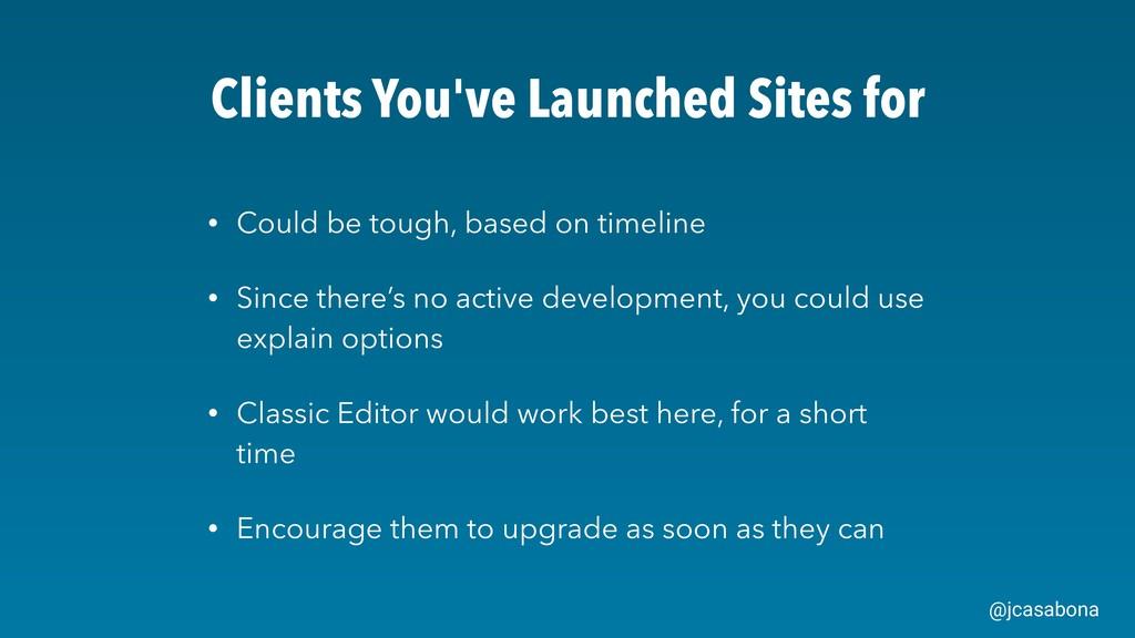 @jcasabona Clients You've Launched Sites for • ...