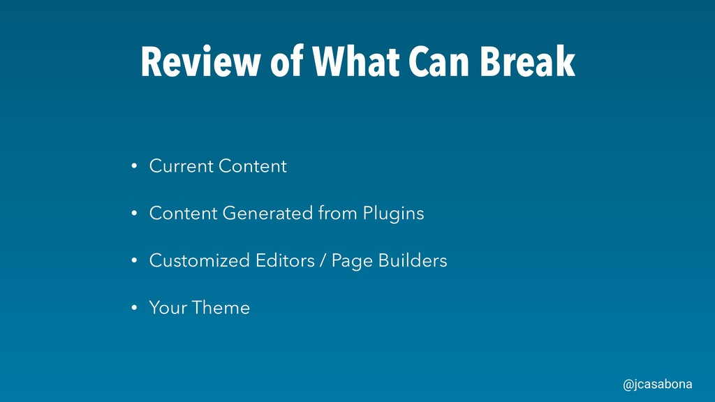 @jcasabona Review of What Can Break • Current C...