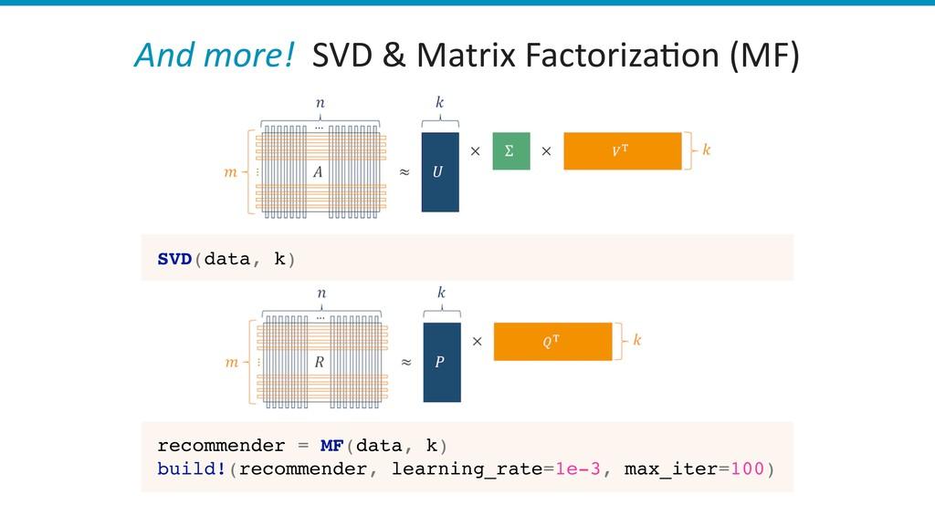 And more! SVD & Matrix Factoriza)on (MF) SVD(da...