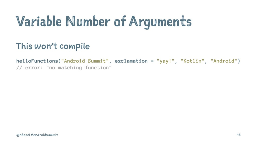 Variable Number of Arguments This won't compile...