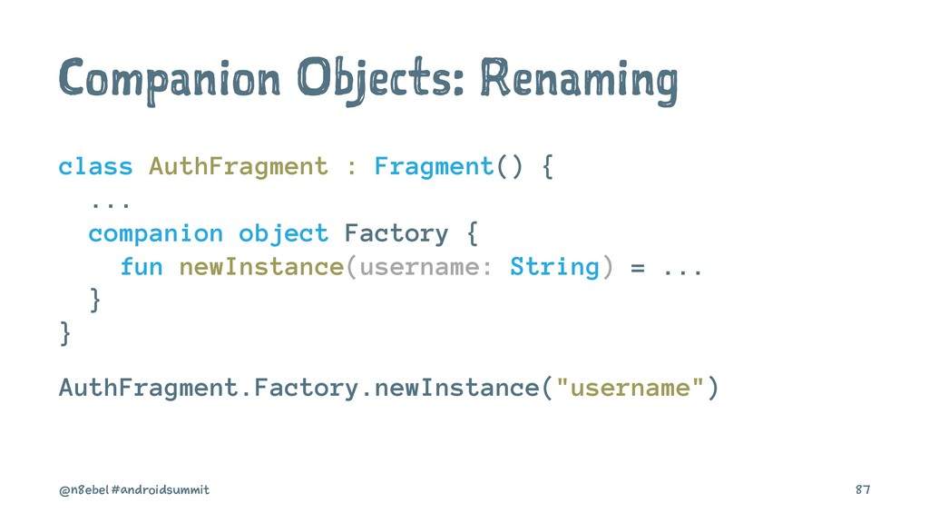 Companion Objects: Renaming class AuthFragment ...