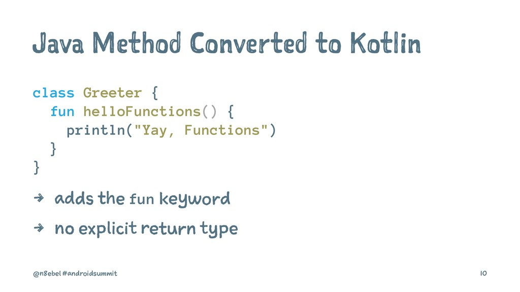 Java Method Converted to Kotlin class Greeter {...