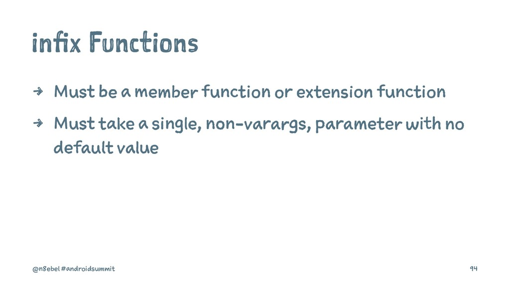 infix Functions 4 Must be a member function or ...