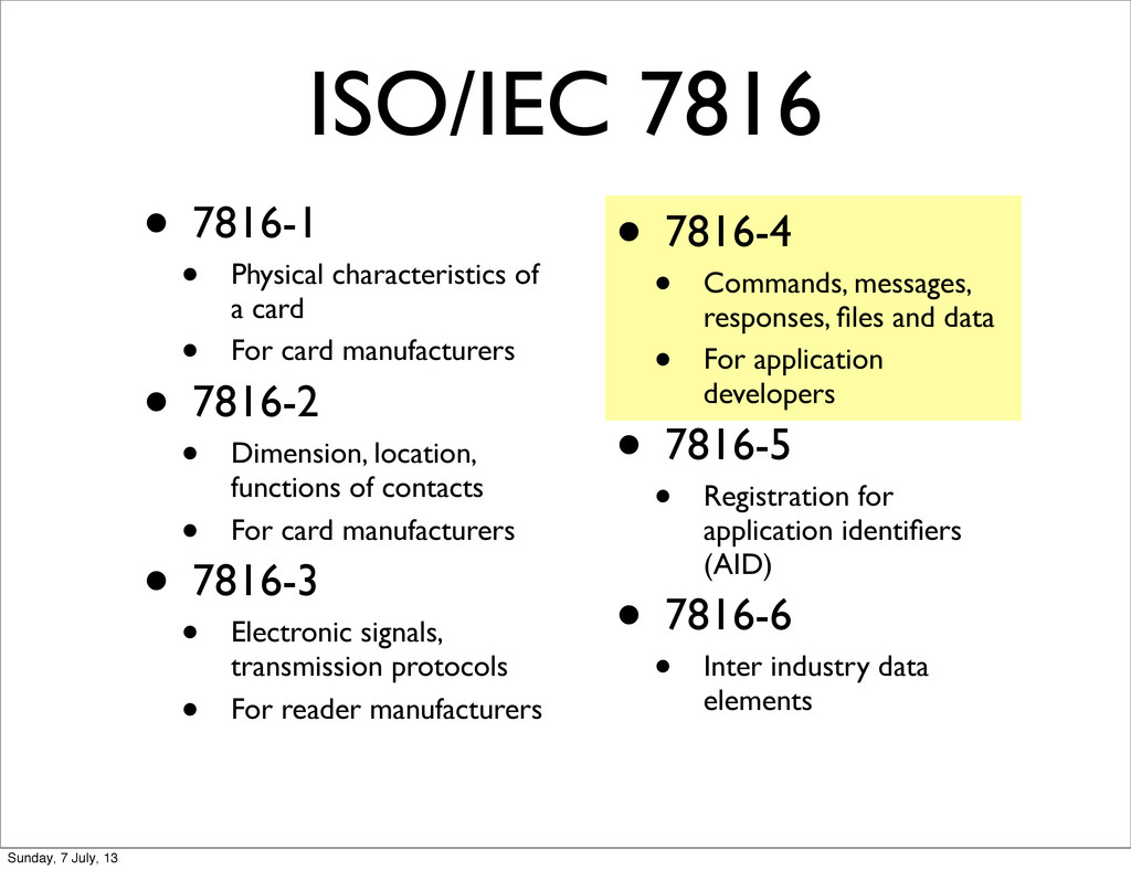 ISO/IEC 7816 • 7816-1 • Physical characteristic...