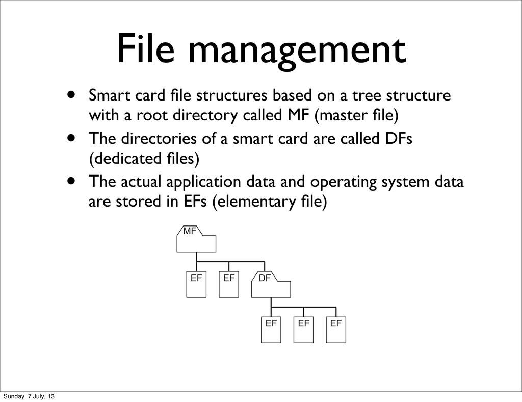 File management • Smart card file structures bas...