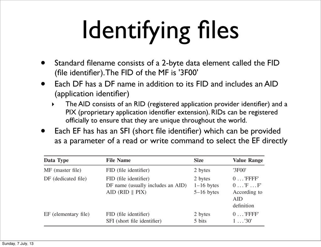 Identifying files • Standard filename consists of...