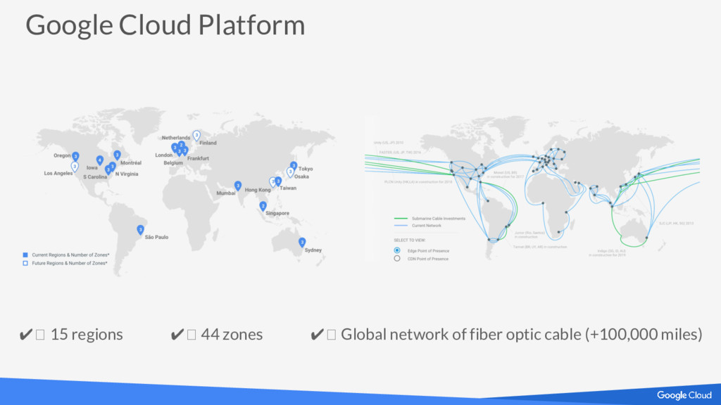 Google Cloud Platform ✔ 15 regions ✔ 44 zones ✔...
