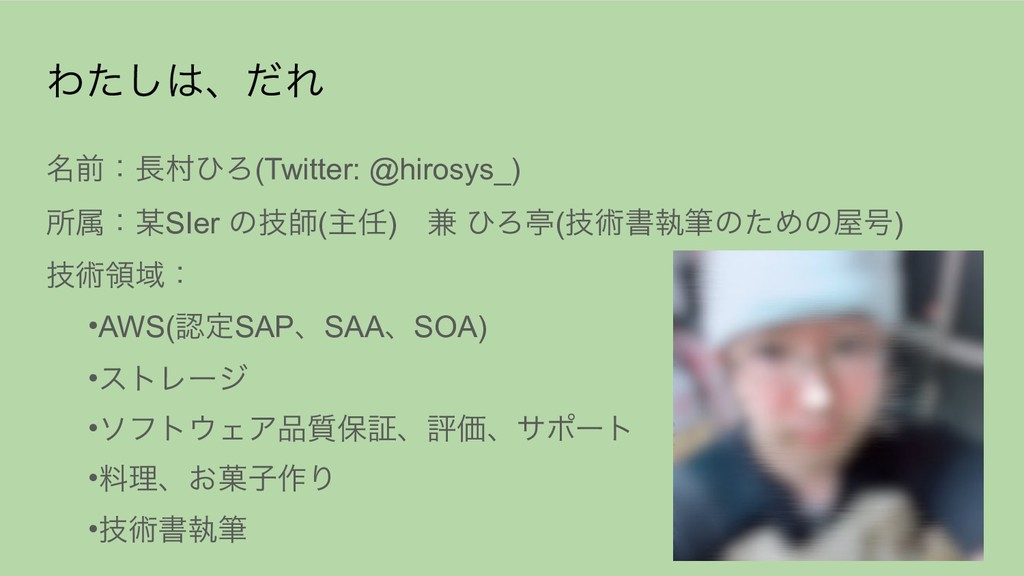 Θͨ͠ɺͩΕ ໊લɿଜͻΖ(Twitter: @hirosys_) ॴଐɿSIer ͷ...