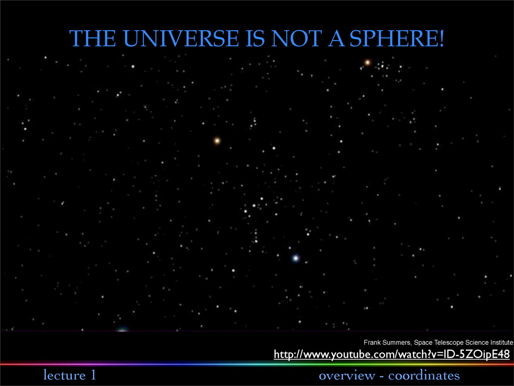 lecture 1 overview - coordinates THE UNIVERSE I...