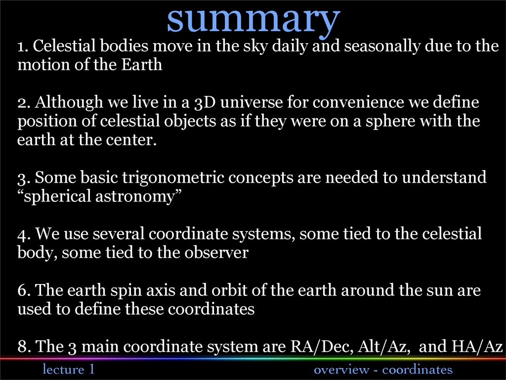 lecture 1 overview - coordinates summary 1. Cel...