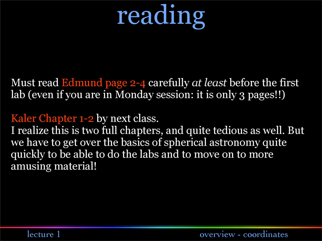 lecture 1 overview - coordinates reading Must r...