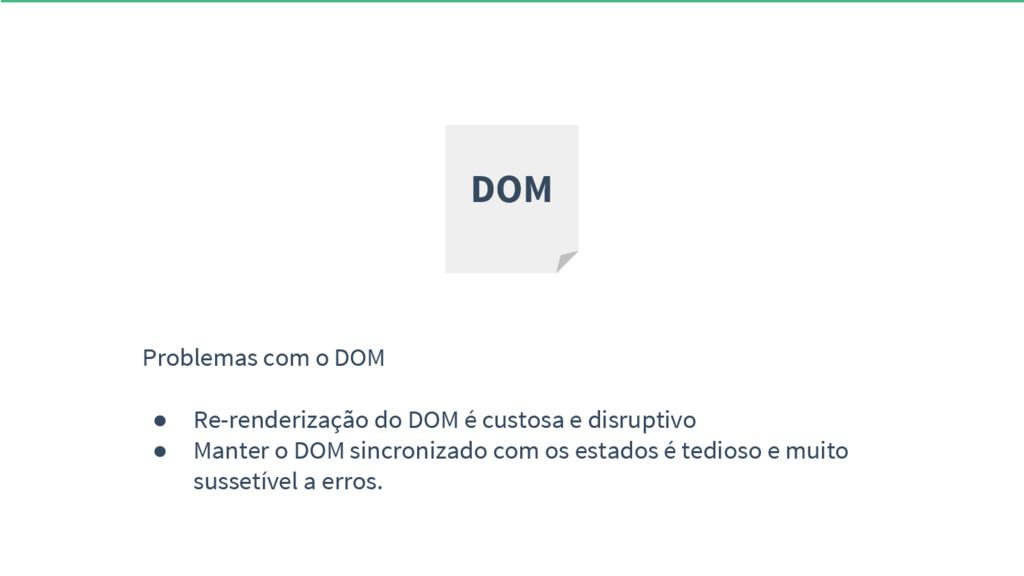Problemas com o DOM ● Re-renderização do DOM é ...