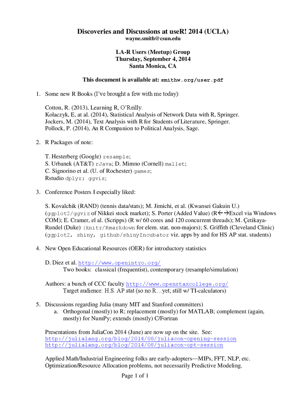 Page 1 of 1 Discoveries and Discussions at useR...