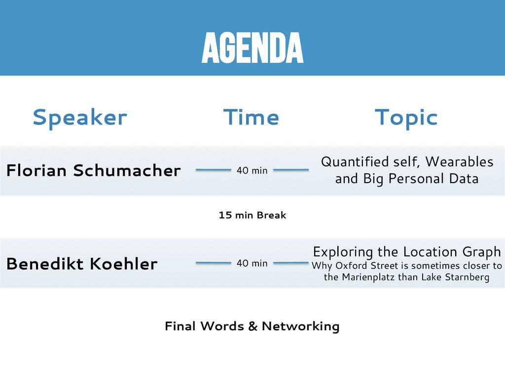 Agenda Speaker Topic Time Florian Schumacher Be...