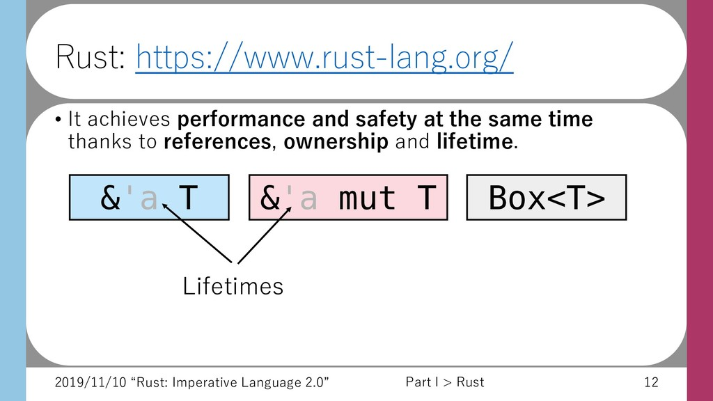 "2019/11/10 ""Rust: Imperative Language 2.0"" 12 R..."