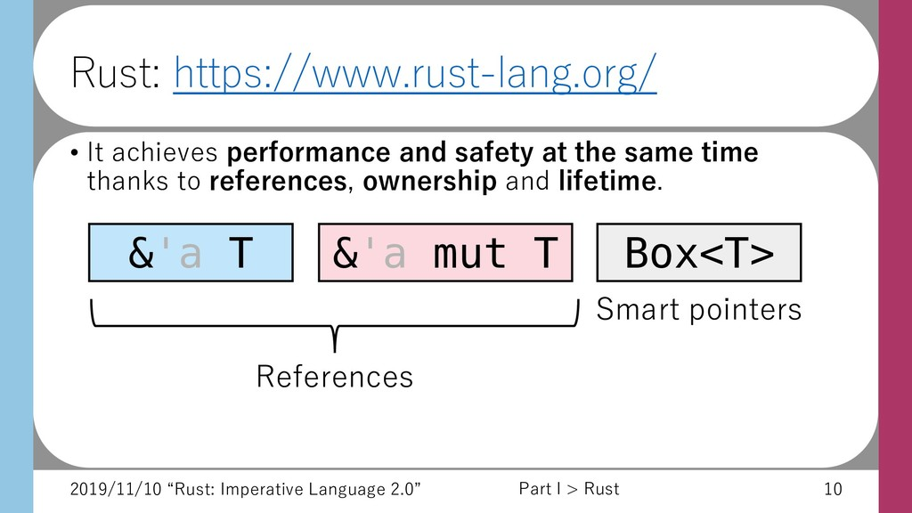 "2019/11/10 ""Rust: Imperative Language 2.0"" 10 R..."