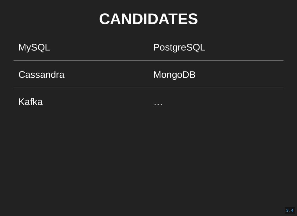 CANDIDATES MySQL PostgreSQL Cassandra MongoDB K...