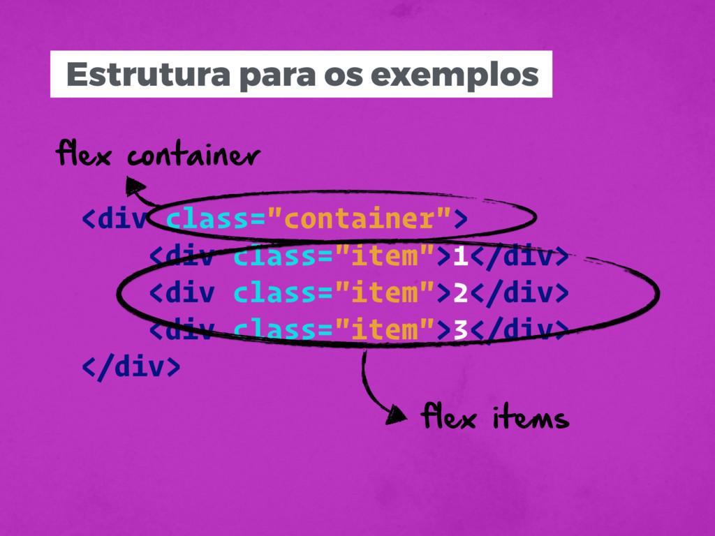 """Estrutura para os exemplos <div class=""""containe..."""