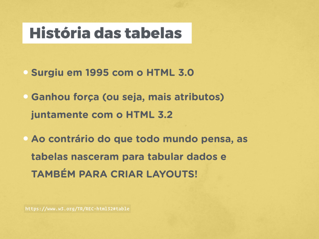 História das tabelas •Surgiu em 1995 com o HTML...
