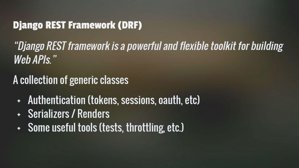 "Django REST Framework (DRF) ""Django REST framew..."