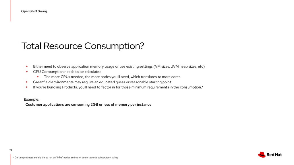 Total Resource Consumption? OpenShift Sizing 27...