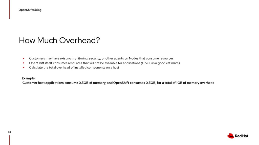 How Much Overhead? OpenShift Sizing 28 ▸ Custom...