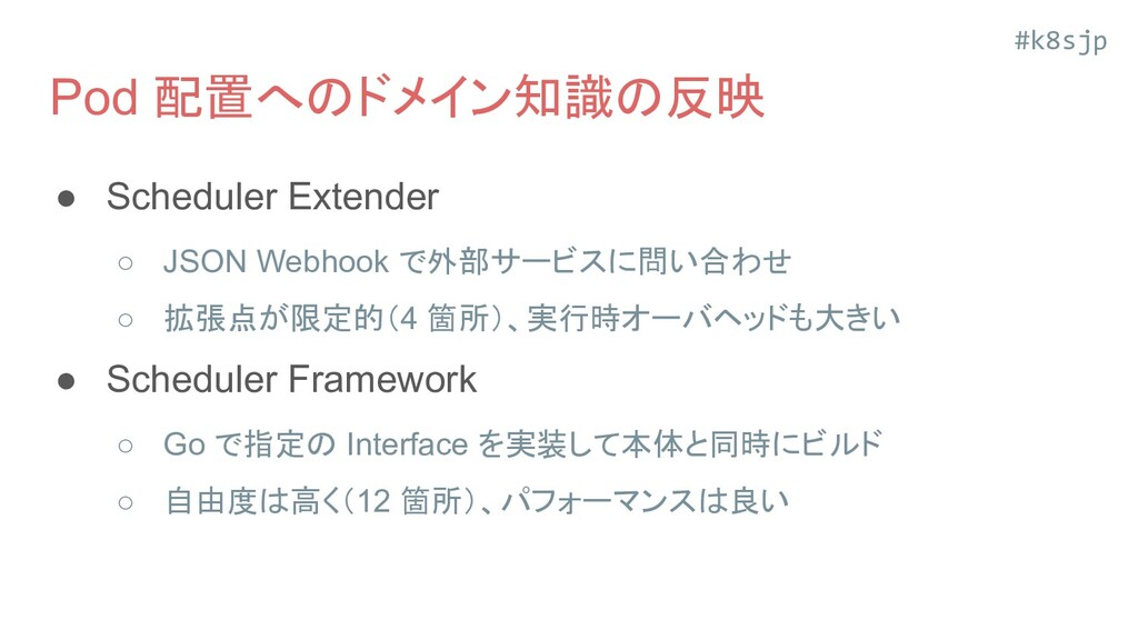 #k8sjp Pod 配置へのドメイン知識の反映 ● Scheduler Extender ○...