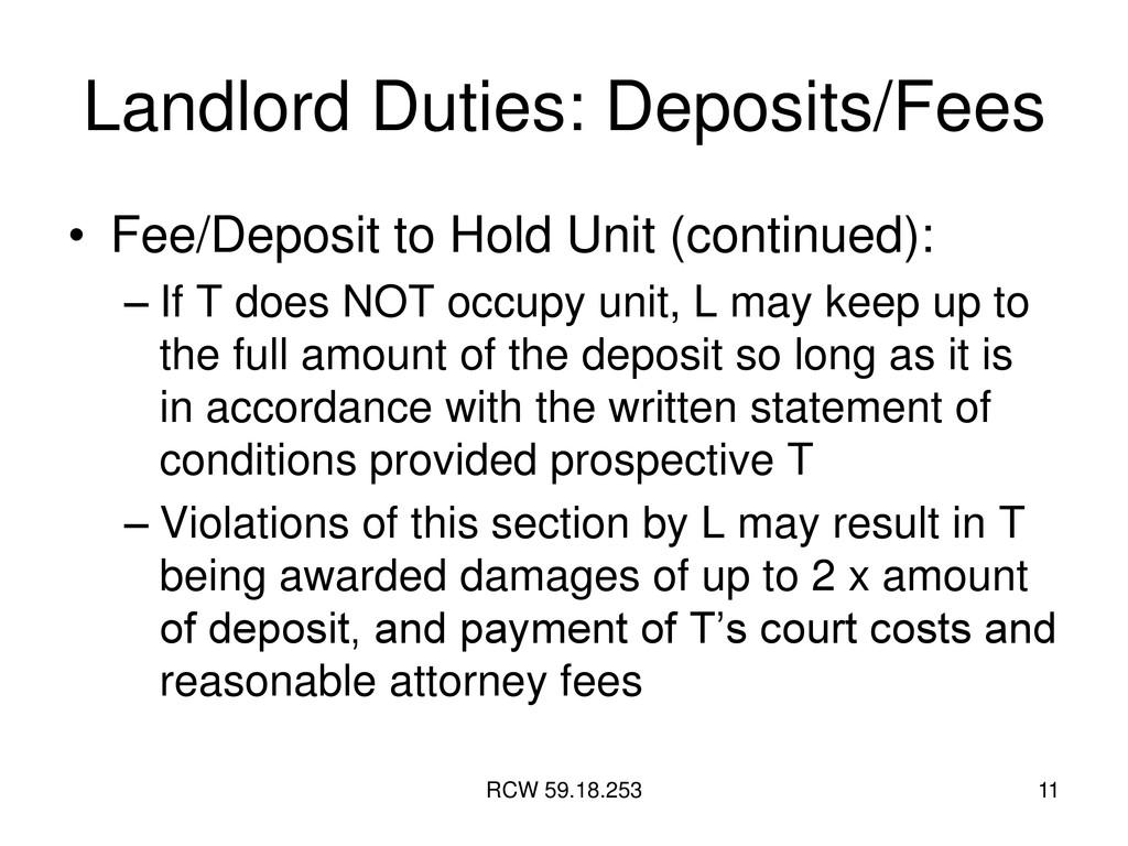 RCW 59.18.253 11 Landlord Duties: Deposits/Fees...