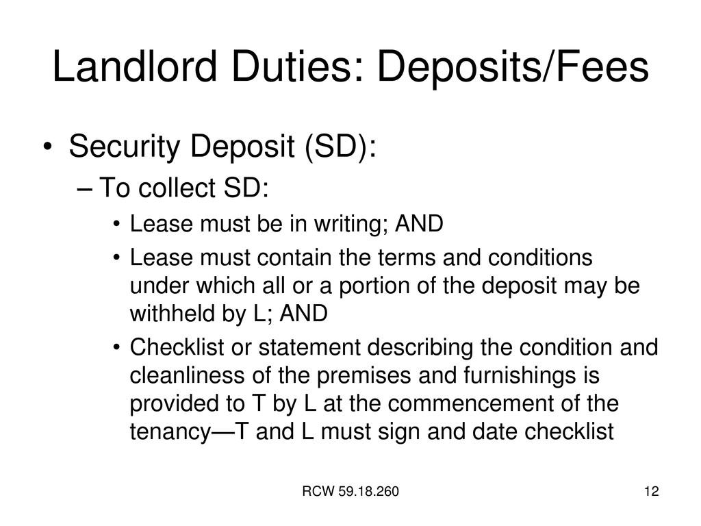 RCW 59.18.260 12 Landlord Duties: Deposits/Fees...