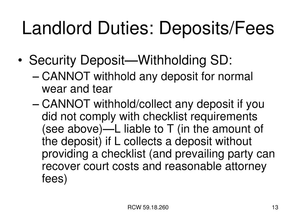 RCW 59.18.260 13 Landlord Duties: Deposits/Fees...
