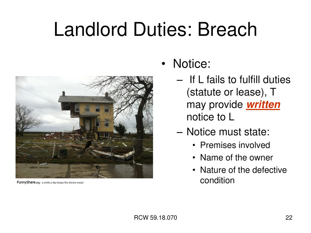 RCW 59.18.070 22 Landlord Duties: Breach • Noti...