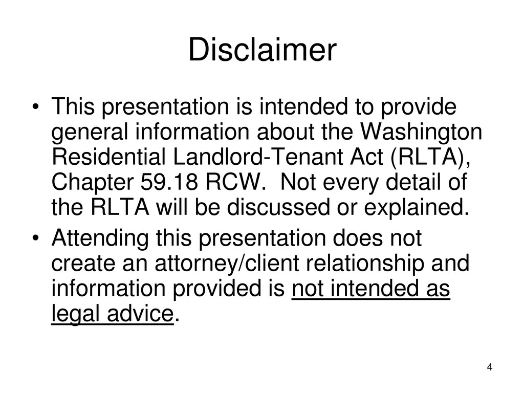 4 Disclaimer • This presentation is intended to...