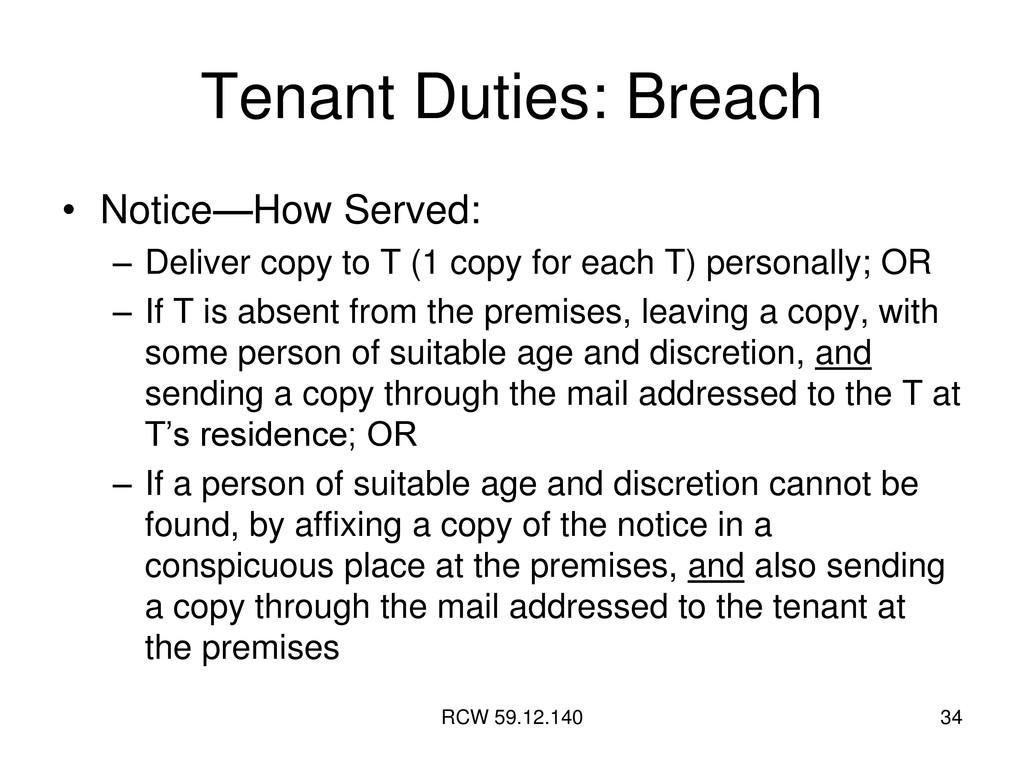 RCW 59.12.140 34 Tenant Duties: Breach • Notice...
