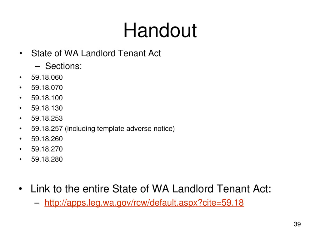 Handout • State of WA Landlord Tenant Act – Sec...