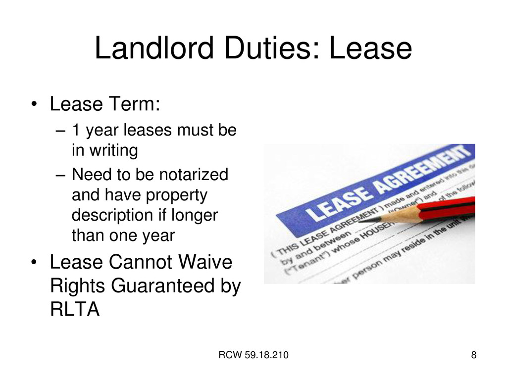RCW 59.18.210 8 Landlord Duties: Lease • Lease ...