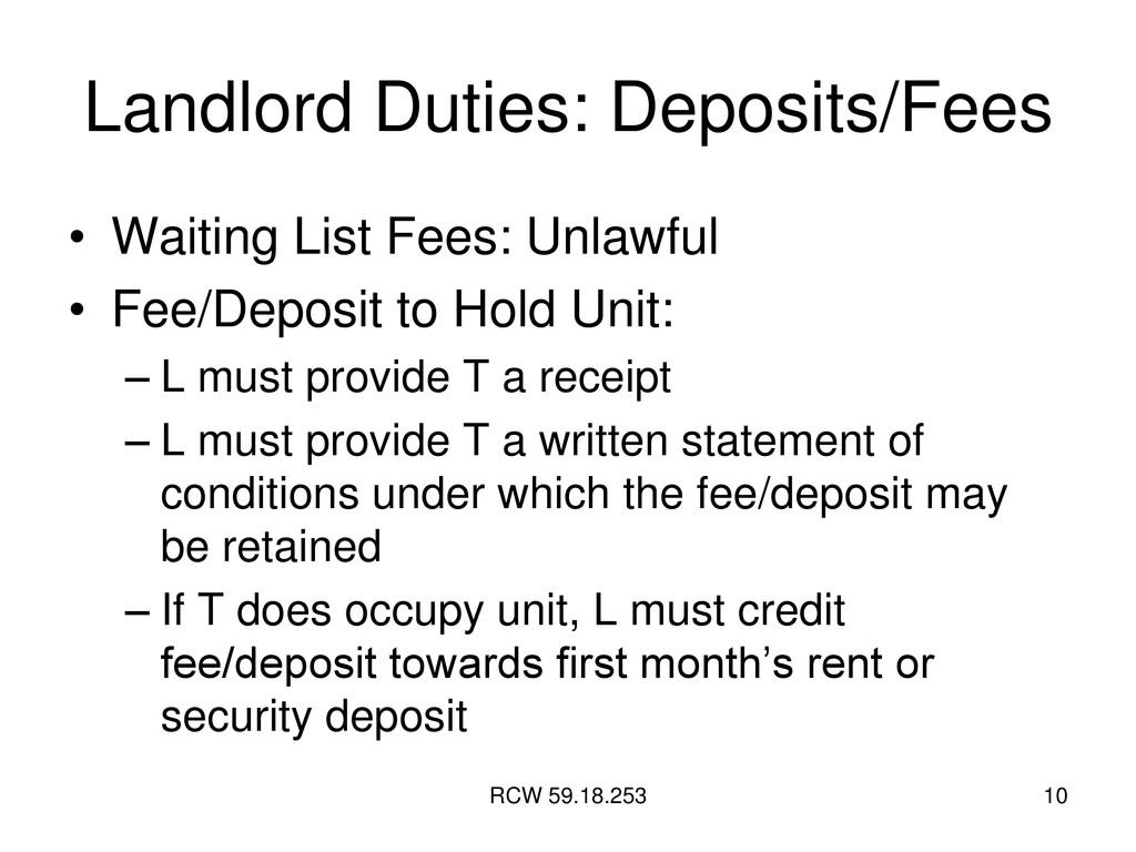 RCW 59.18.253 10 Landlord Duties: Deposits/Fees...