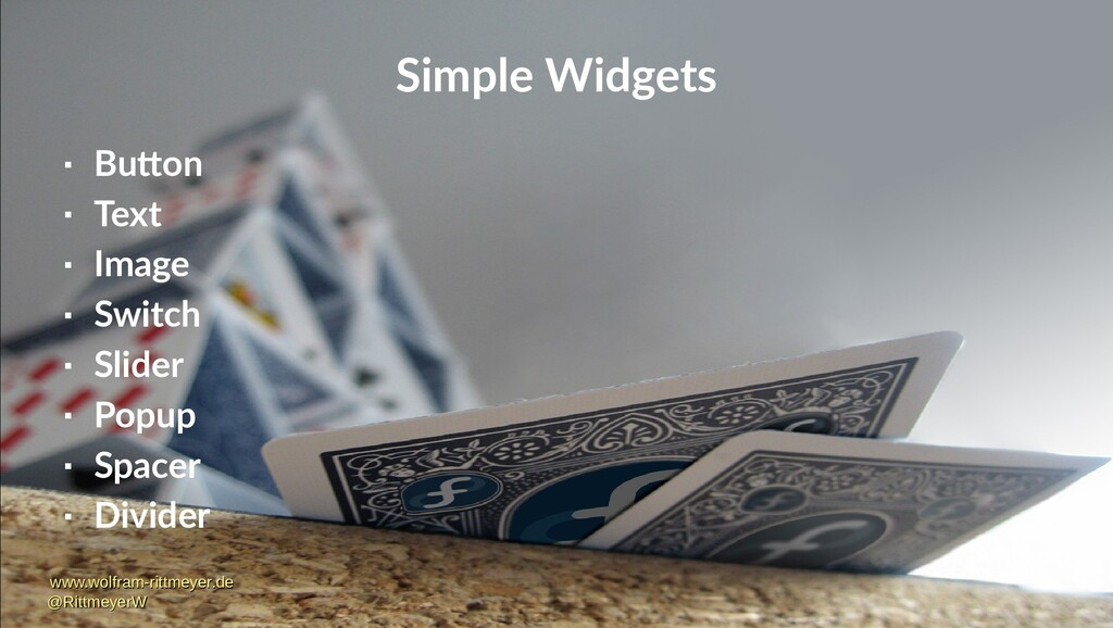 Simple Widgets  Button  Text  Image  Switch...