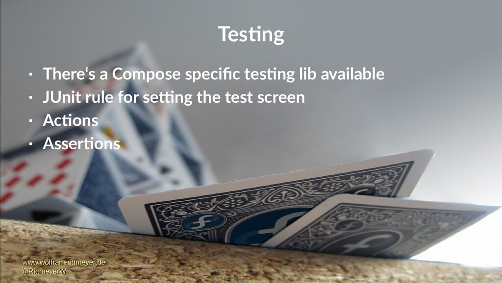 Testing  There's a Compose specific testing li...