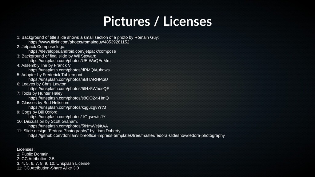 Pictures / Licenses 1: Background of title slid...