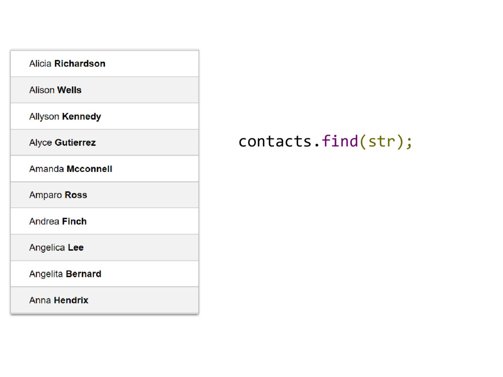 contacts.find(str);