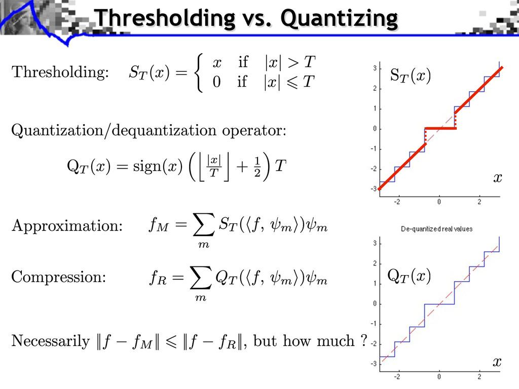 Thresholding vs. Quantizing