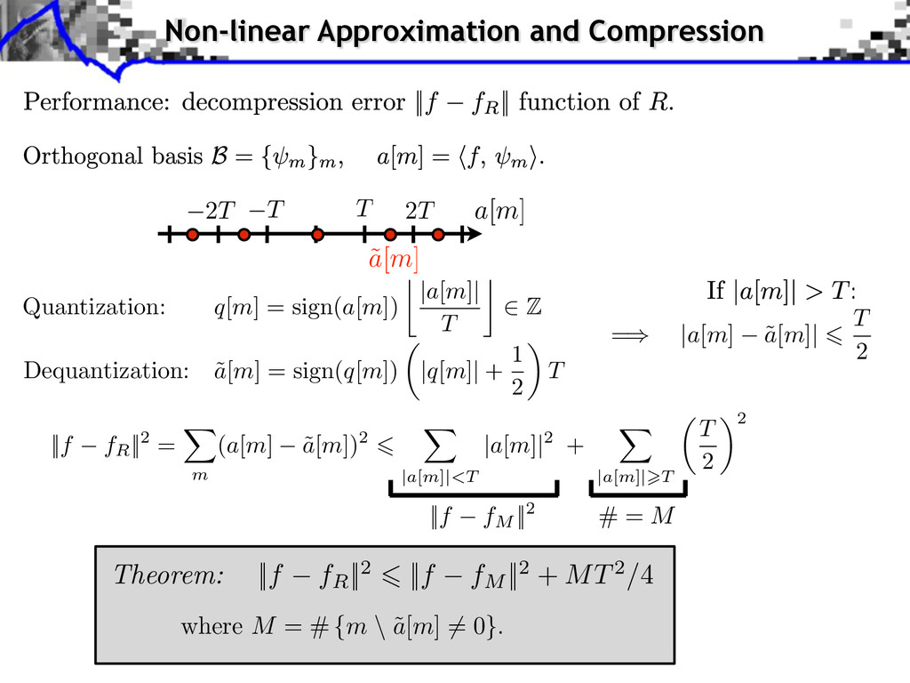 Non-linear Approximation and Compression ||f fM...