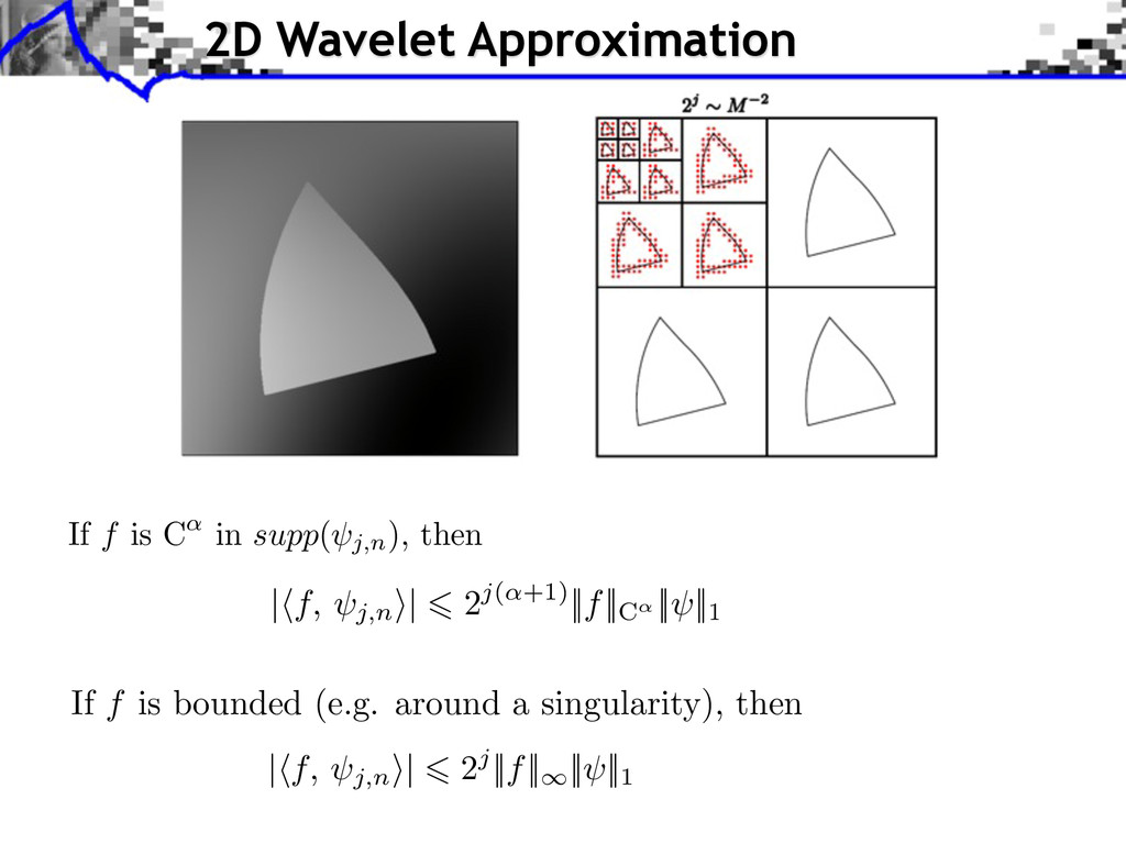 2D Wavelet Approximation If f is C in supp( j,n...