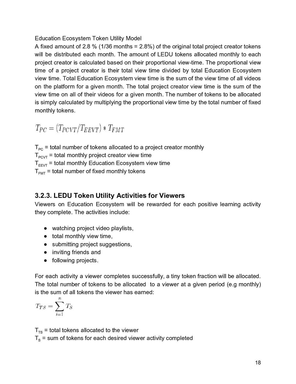 Education Ecosystem Token Utility Model A fixed...