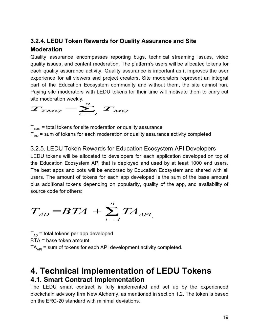3.2.4. LEDU Token Rewards for Quality Assurance...