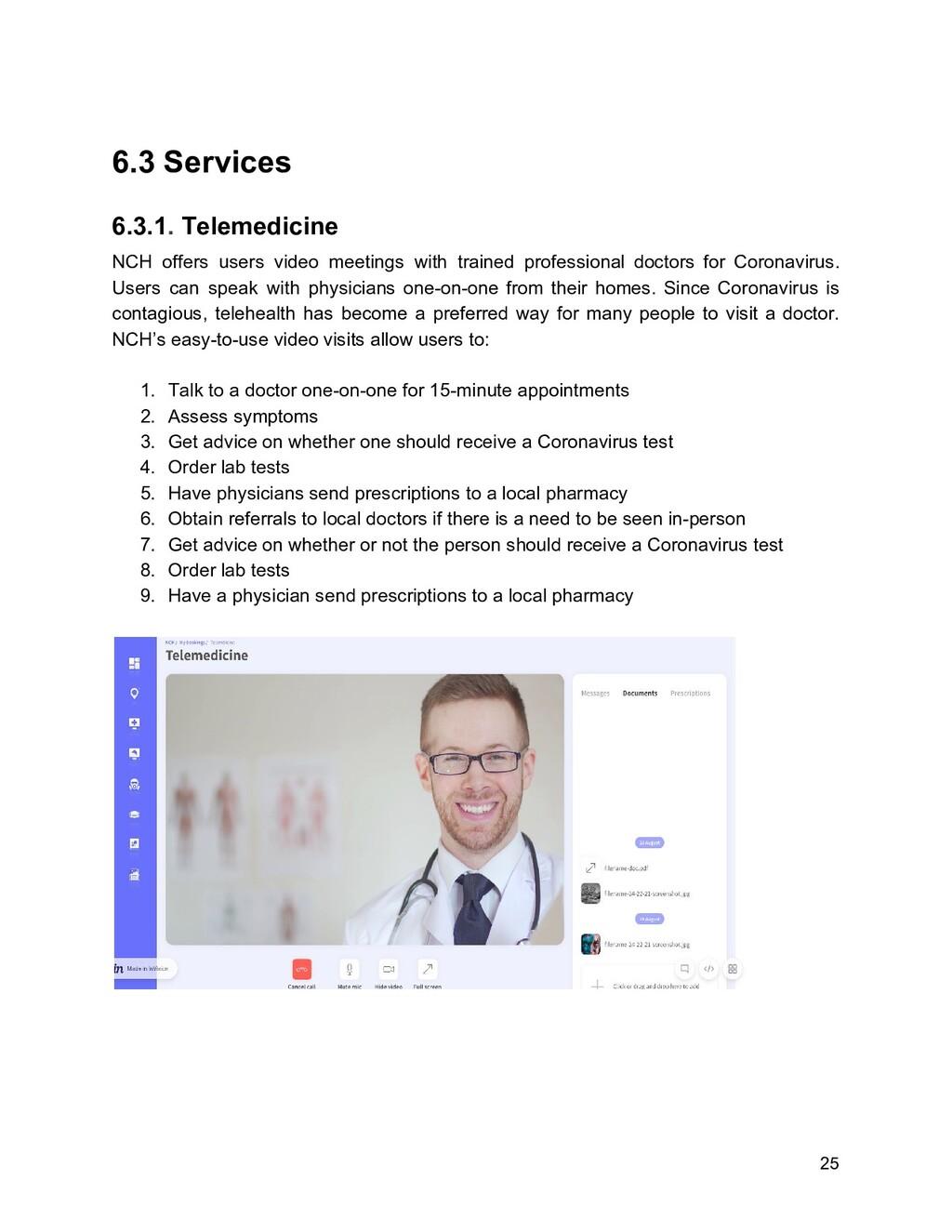 6.3 Services 6.3.1. Telemedicine NCH offers u...