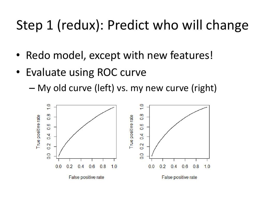 Step 1 (redux): Predict who will change • Redo ...