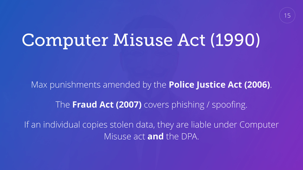 Computer Misuse Act (1990) Max punishments amen...